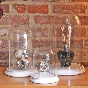 Glass Bell Jar Dome With Cream Base