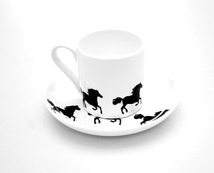 Horse Espresso Cup And Saucer