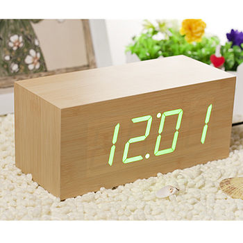 LED Beech Square Alarm Clock