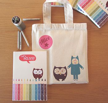 Personalised Bag,With Book And Pencils Set