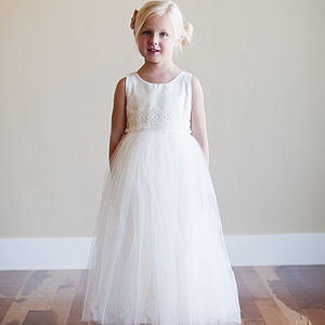 Cotton And Tulle Dress With Wide Lace Belt - christeningwear