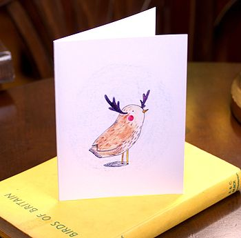 Antler Bird Christmas Card