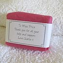 personalised teacher thank you soap in pink wrapping