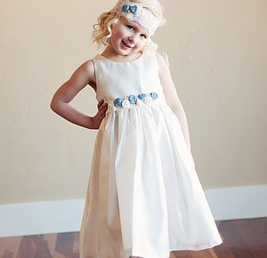 Girl's Shantung Satin Dress And Headband - christening wear