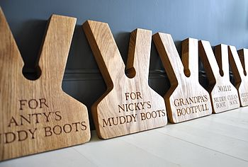 Personalised Oak Boot Jack/Boot Pull