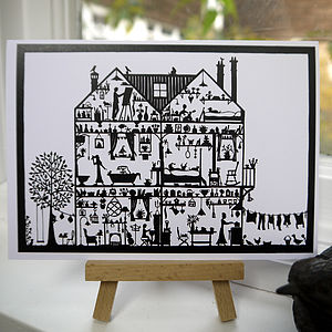 House Cross Section Greetings Card - blank cards