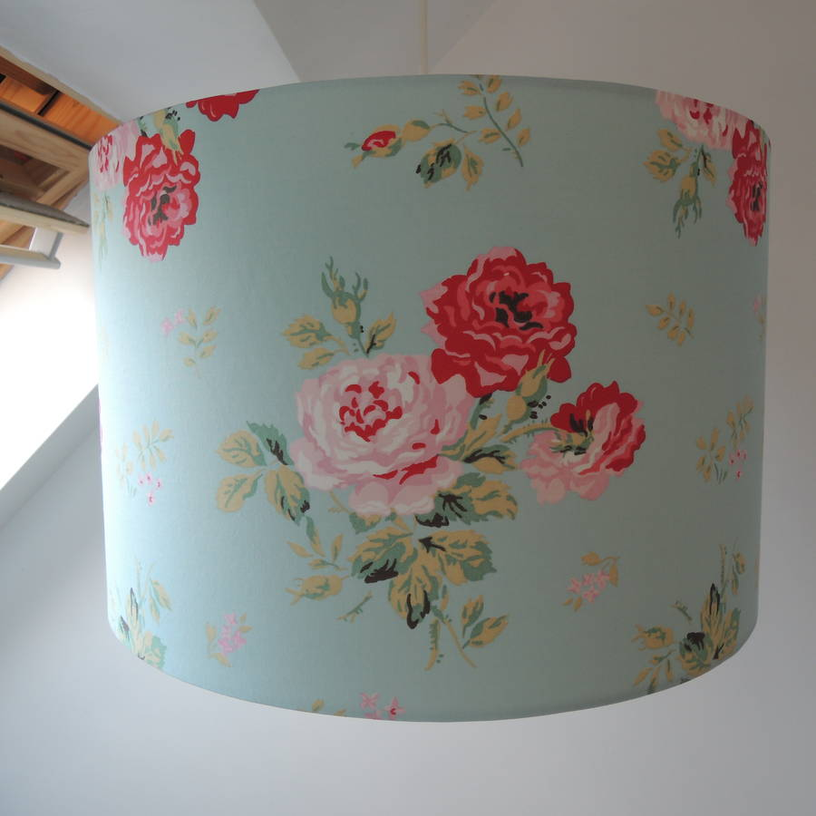 Lampshade cath kidston antique rose bouquet by the shabby shade 31cm diameter x 18cm high duck egg blue mozeypictures Choice Image