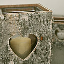 Birch Wood Heart Candle Holders