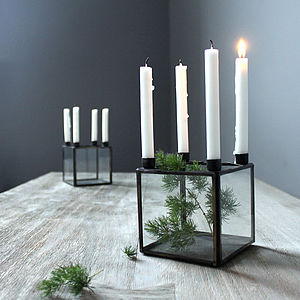 Mini Glass Cube Candelabra - candles & candlesticks