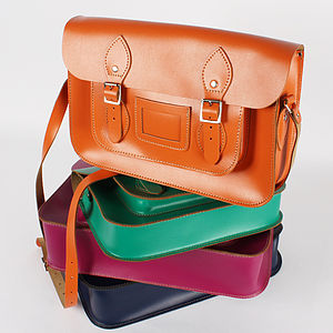 Leather Satchel Bright Collection - bags, purses & wallets