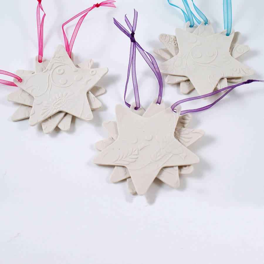 Set Of Three Porcelain Star Decorations