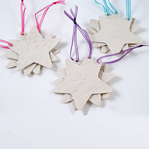 Set Of Three Porcelain Star Decorations