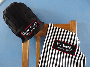 Men's Black Chef Hat And Apron Gift Set