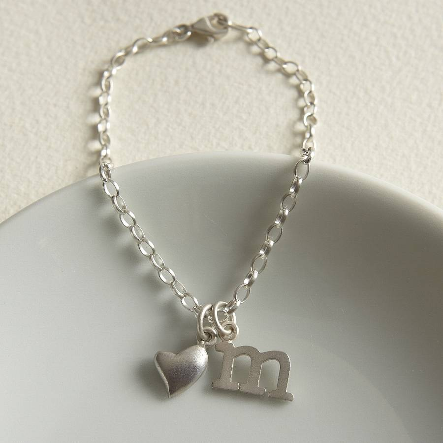 Initial Charms For Bracelets: Silver Initial Charm Bracelet By Lily Charmed