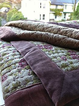 French Style Voile Quilt In Olive Rose Print
