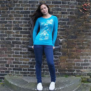 Leaves Hand Printed Long Sleeve Tunic - t-shirts, tops & tunics