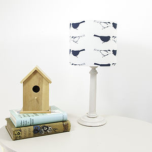 Birdie Flock Handprinted Lampshade - lamp bases & shades