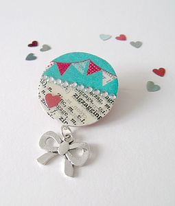 Bunting Upcycled Vintage Paper Brooch - children's jewellery