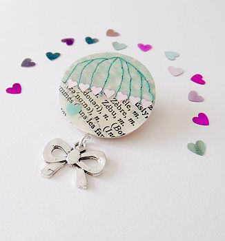 Sweetheart Upcycled Vintage Paper Brooch