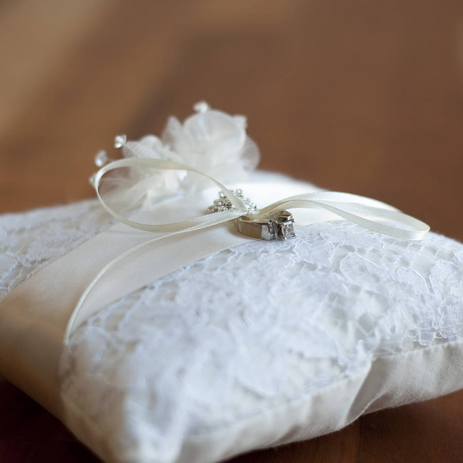 lace wedding ring pillow by gilly gray notonthehighstreetcom