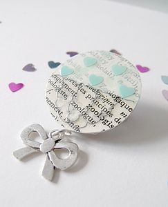 Upcycled Vintage Paper Heart Brooch - children's jewellery