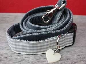 Nuage Checked Dog Collar And Velvet Lead - pet collars & leads