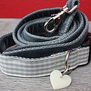Nuage Checked Dog Collar And Velvet Lead