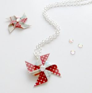 Polka Dot Paper Pinwheel Necklace