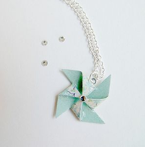 Floral Paper Pinwheel Necklace - necklaces