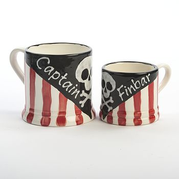 Personalised Hand Painted Pirate Captain Mug