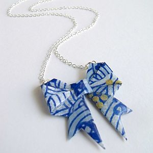 Striped Washi Paper Origami Bow Necklace - children's jewellery