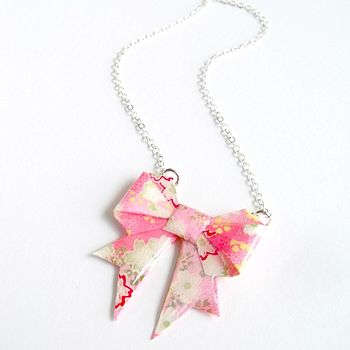 Candy Washi Paper Origami Bow Necklace