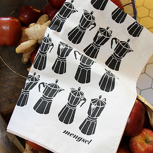 Moka Express Coffee Pot Tea Towel In Black