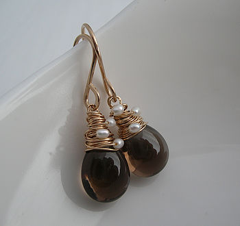 Smoky Quartz Pearl Woven Earrings