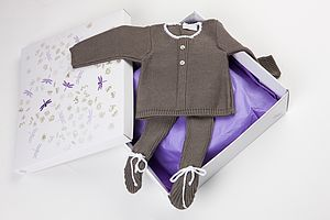 Knitted Baby's First Winter Outfit - trousers & leggings