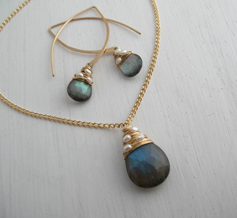 cf35eee80 labradorite necklace and earrings set by sarah hickey ...