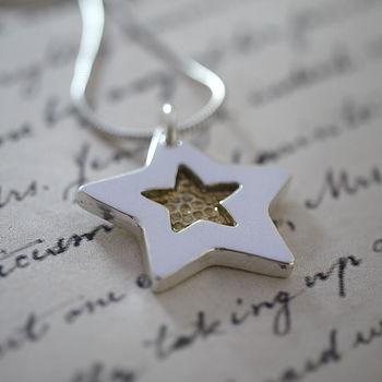 Personalised Silver And Gold Star Necklace