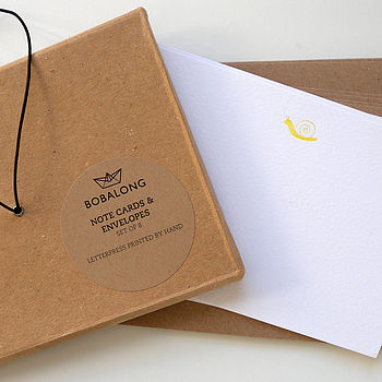 Boxed Set Of Snail Mail Letterpress Notecards