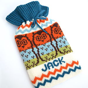 Owl Fairisle Knitted Hot Water Bottle Cover