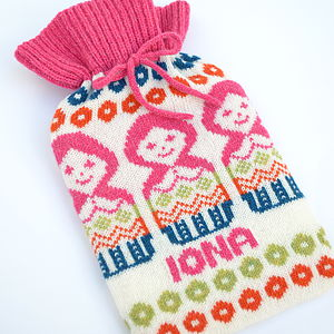 Personalised Fairisle Russian Doll Hot Bottle - bedroom