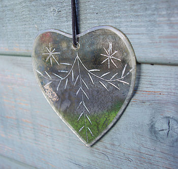 Vintage Etched Heart Mirror Heart
