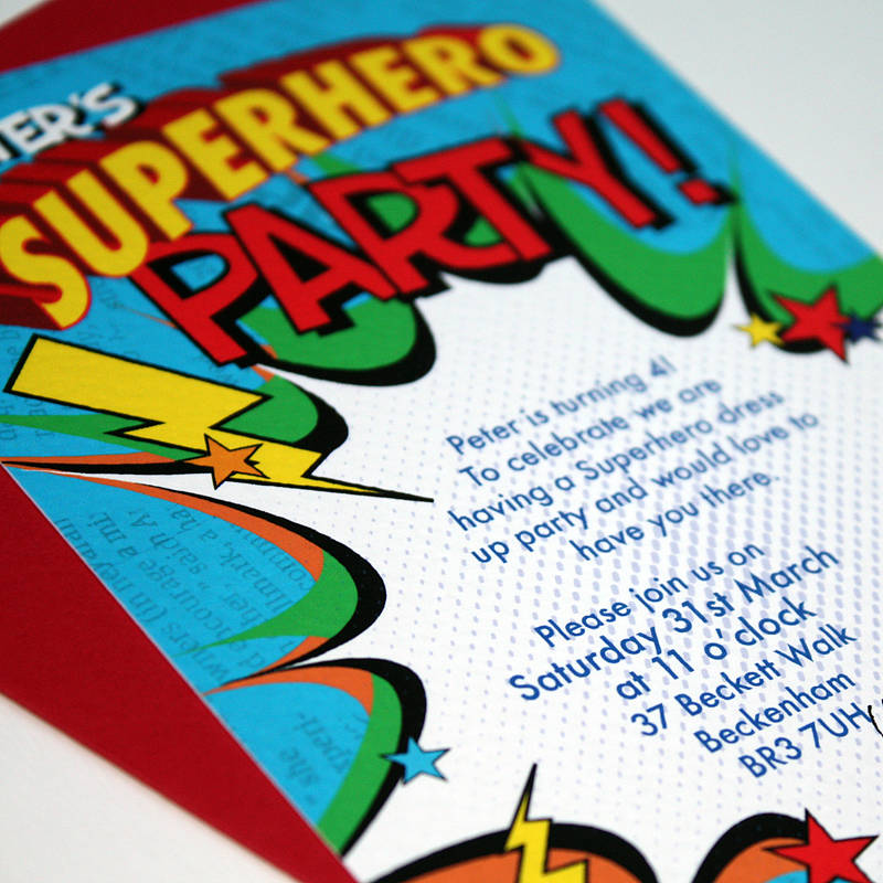 personalised superhero party invitations by bonnie blackbird
