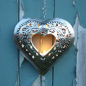 Embossed Cut Out Heart Tea Light - lights & candles