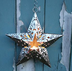 Embossed Cut Out Star Tea Light - christmas lights