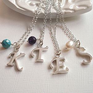 Sterling Silver Script Letter Necklace - for friends