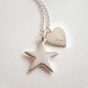 Personalised Star And Heart Necklace - necklaces & pendants