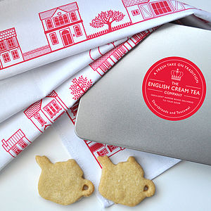 Designer Tea Towel And Shortbread Teapots - biscuits and cookies