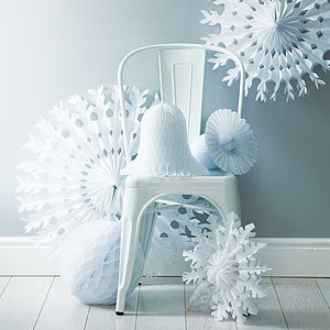 Paper Tissue Snowflake Christmas Decorations - table decorations
