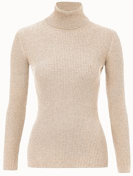 Super Soft Ribbed Roll Neck Top In Pure Natural Yarns
