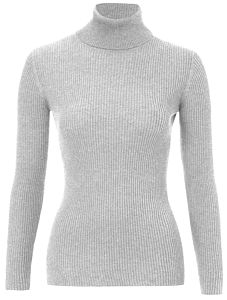Super Soft Roll Neck Top In Natural Yarns